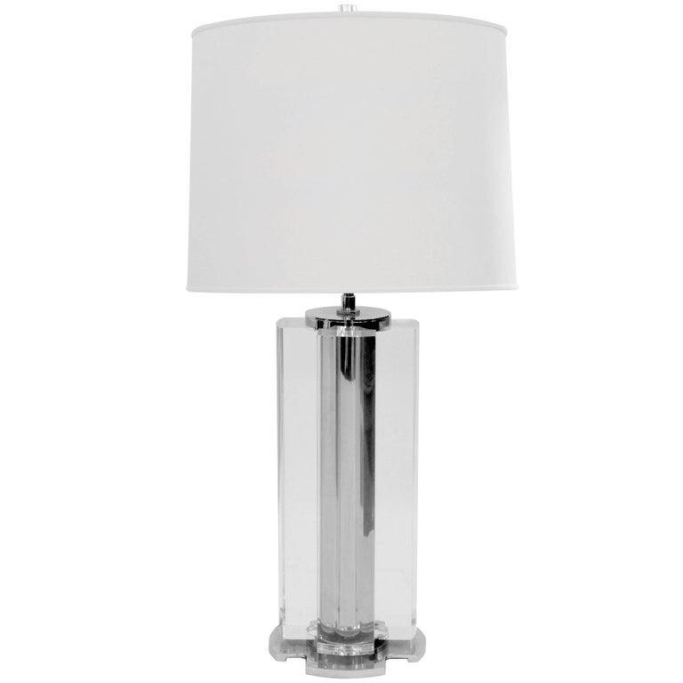Sculptural Lucite Block Table Lamp in the Manner of Karl Springer