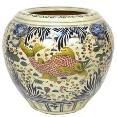 Chinese Wucai Fish Bowl
