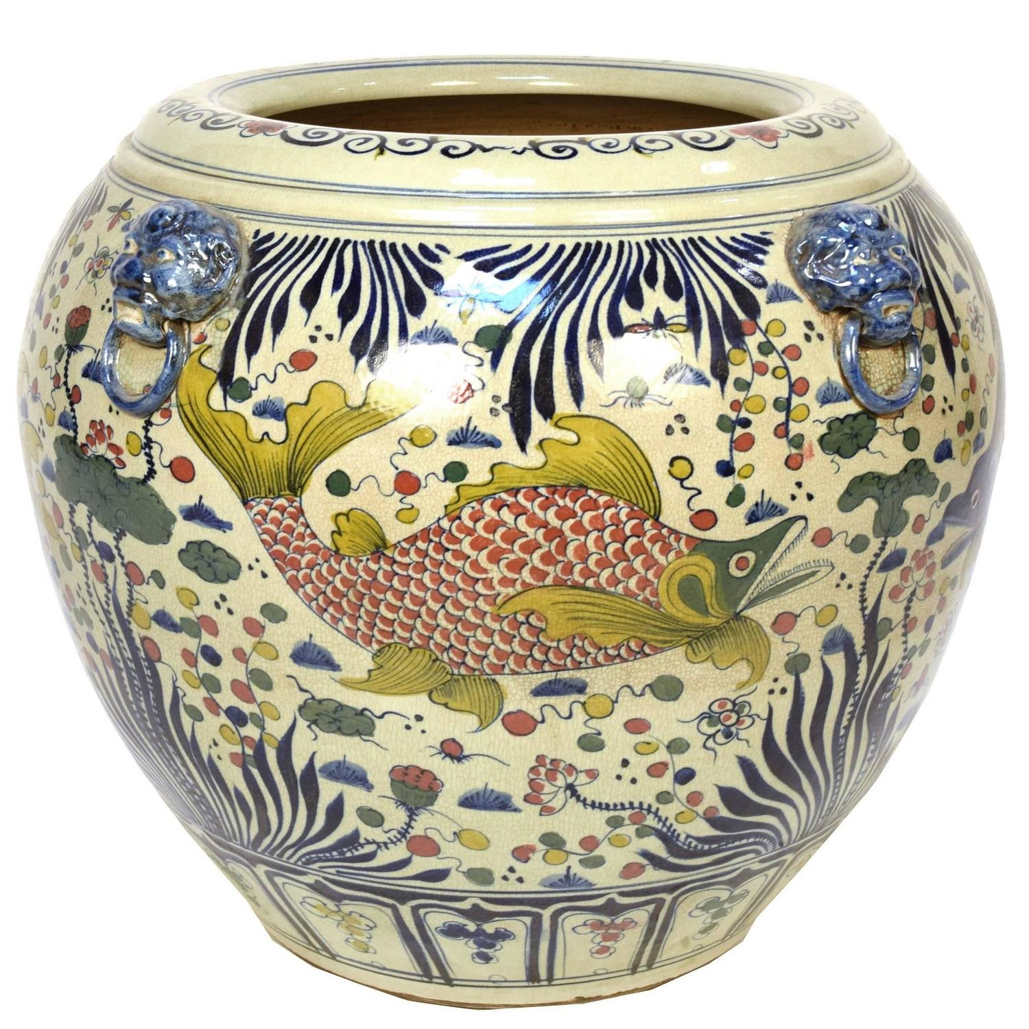 Chinese wucai fish bowl for sale at 1stdibs for Chinese fish bowl