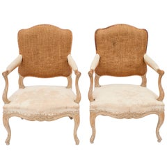 Louis XV Style Fauteuils in Natural Beech Wood