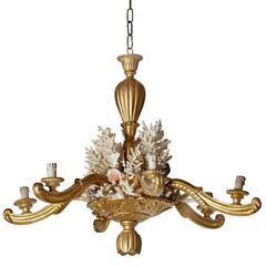 Continental Carved and Giltwood and Coral Mounted Six-Light Chandelier