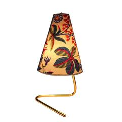 Brass Table Lamp with original Josef Frank Design Fabric Vienna 1950s