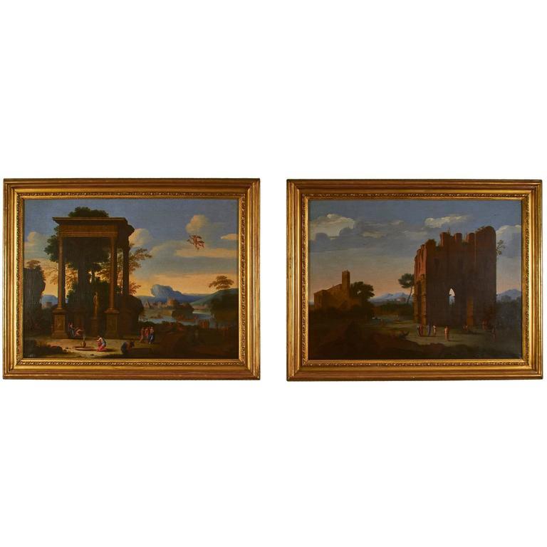 Fine Pair of 18th Century Oil Paintings, School of Lorraine