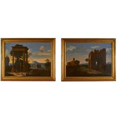 Fine Pair of 18th Century Continental Classical Oil Paintings