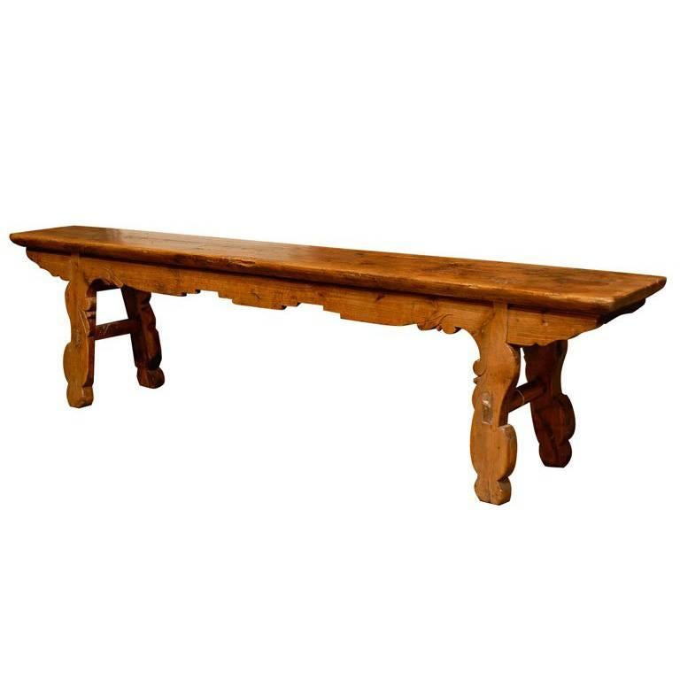 Late 19th Century Long Backless Wooden Bench with Carved Legs and Skirt