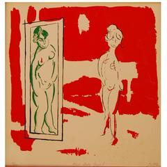 "Ronn Jaffe Serigraph 1967 ""Her Own Angel"""
