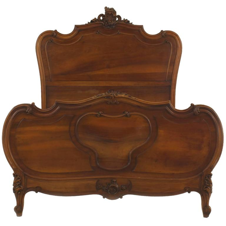 Turn of the Century French Louis XV Style Walnut Bed