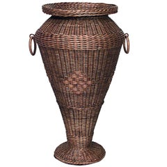 Early 20th Century American Mission Natural Wicker Umbrella Stand