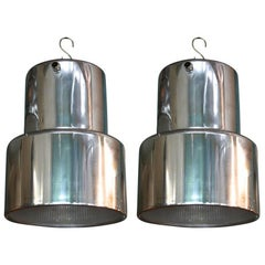 Polished Aluminum and Industrial Era Glass Pendant Lights