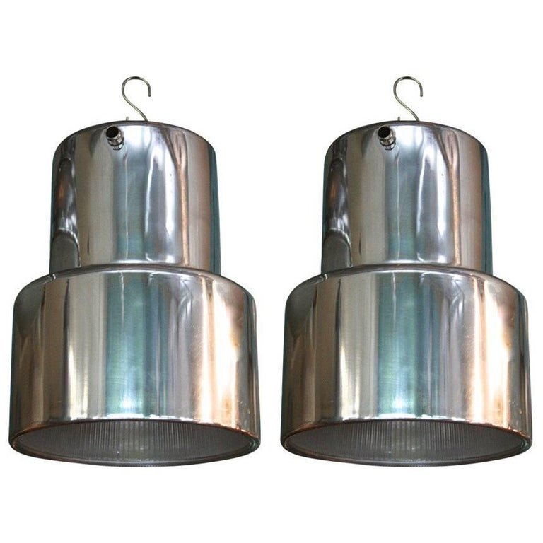 Polished Aluminum and Industrial Era Glass Pendant Lights 1