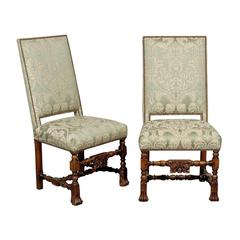 Pair Of 19th Century Louis XIII Style Walnut Side Chairs