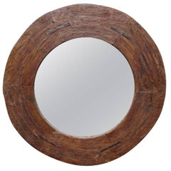 Rustic Iron and Wood Circular Mirror