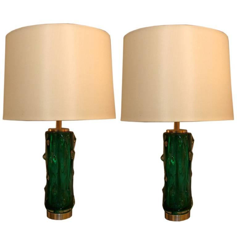 Seguso Table Lamps Pair of Murano Art Glass, Italy, 1950s For Sale