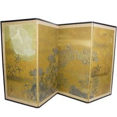 Japanese Handmade and Painted Four-Panel Screen
