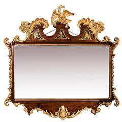 Late 18th Century Mahogany and Parcel-Gilt Overmantel Mirror