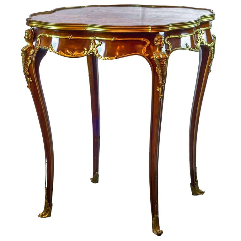 French louis xv style round marble top side table for sale - Table de chevet louis xv ...