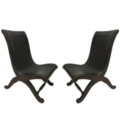 3 Mid-Century Modern Neoclassical Slipper / Lounge Chairs, Pierre Lottier, 1940