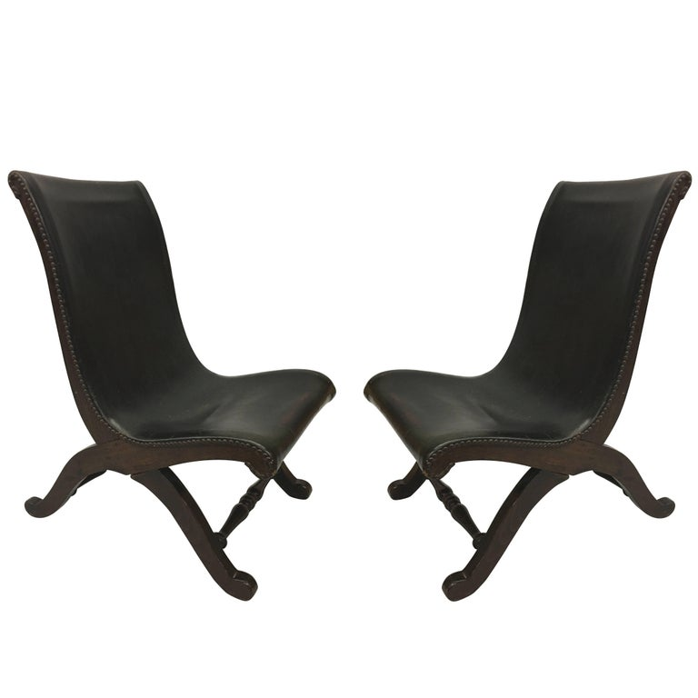 3 Mid-Century Modern Neoclassical Slipper / Lounge Chairs, Pierre Lottier, 1940  For Sale