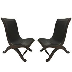 3 Mid-Century Modern Neoclassical Slipper / Lounge Chairs, Pierre Lottier, 1940