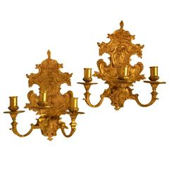 19th Century Pair of Gilded Louis XVI Wall Sconces