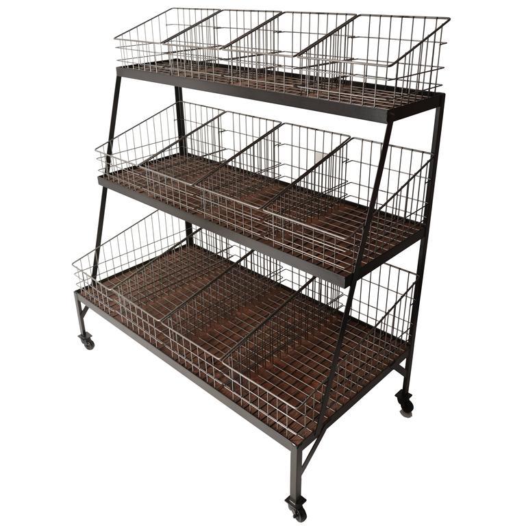 Basket Merchandiser with Wood Shelves For Sale