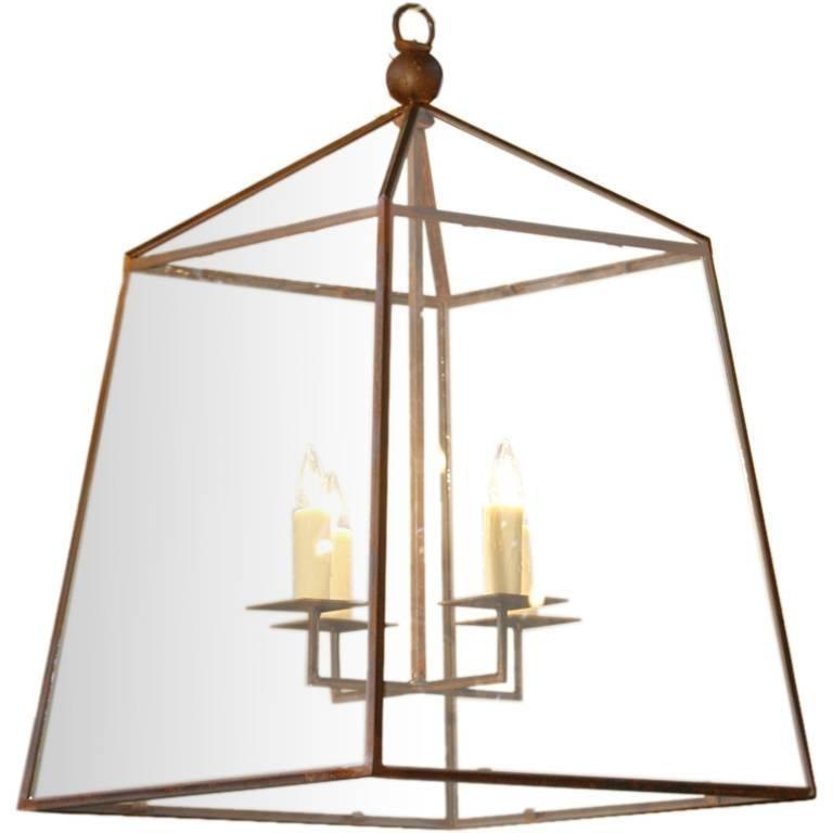 "Monumental Custom American Iron and Glass ""Seneca"" Lantern For Sale"