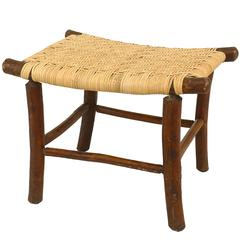 American Old Hickory Foot Stool with a Woven Saddle-Form Seat