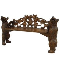 20th Century Continental Black Forest Carved Walnut Bench with Bear Supports