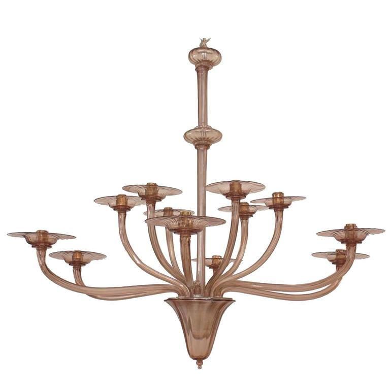 1940s Italian Murano Tiered Amethyst Chandelier Attributed to Venini