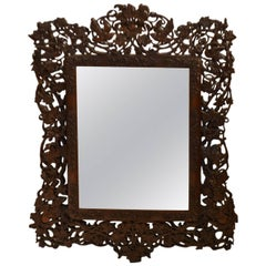 19th Century Mirror with Carved Wood Frame