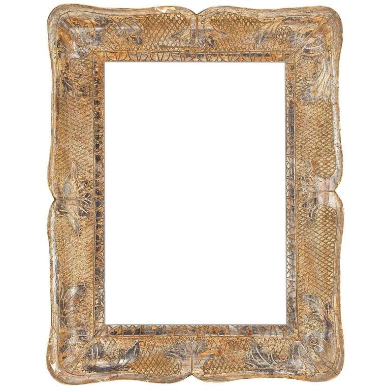 19th Century Italian Carved and Silver Gilt Frame