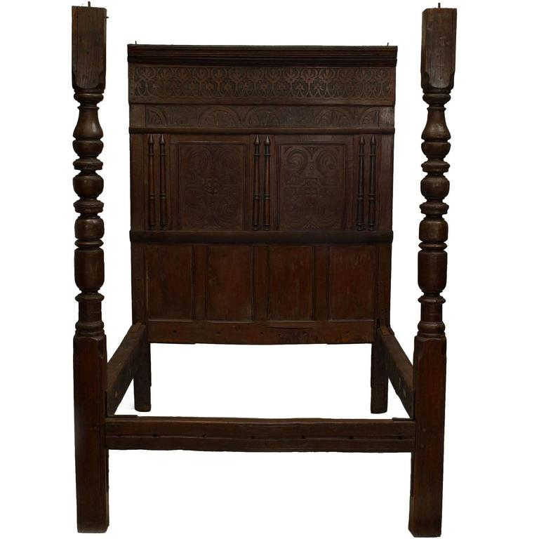 17th Century Italian Renaissance Carved Walnut Two-Post Bed