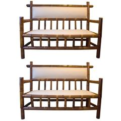 Pair of 19th Century Bamboo Benches