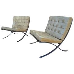 "Pair of Mies van der Rohe ""Barcelona"" Chairs in Vintage Leather"