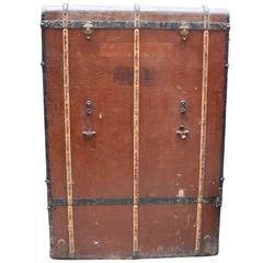 Bad Photos Large German Traveling Wardrobe Suitcase with Leather Handles