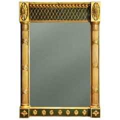 Regency Green-Painted and Parcel-Gilt Pier Mirror