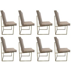 Set of Brass Dining Chairs by Milo Baughman in COM (Priced Individually)