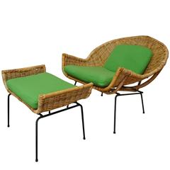 Rattan Lounge Chair and Ottoman by Danny Ho Fong for Tropi-Cal
