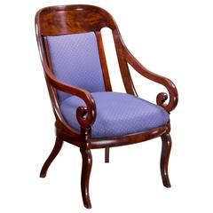 Large Classical Mahogany Gondola Armchair, Probably New York, circa 1820-1830