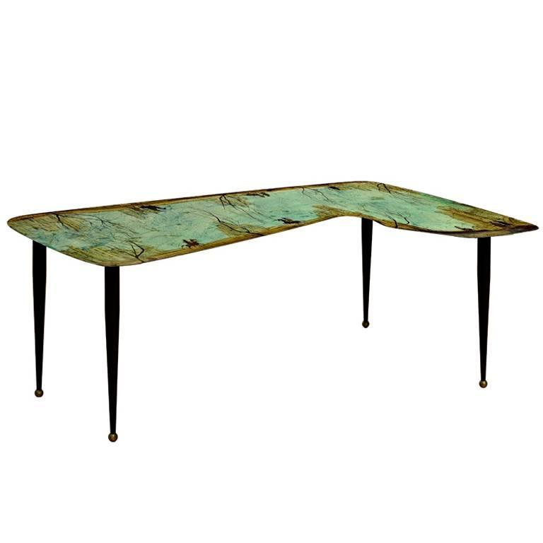 Hand-Painted Low Table by Decalage