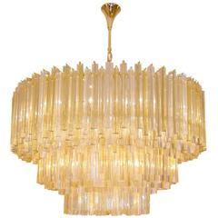 Three-Tiered Amber and Clear Crystal Chandelier