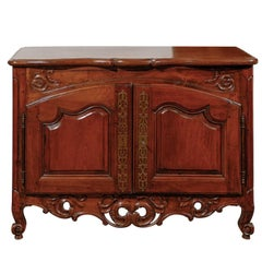 Period Regence French 1720s Walnut Two-Door Buffet with Carved and Pierced Skirt