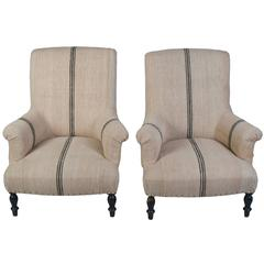 Pair of Napoleon III Fauteuils with Blue Band Antique Hemp