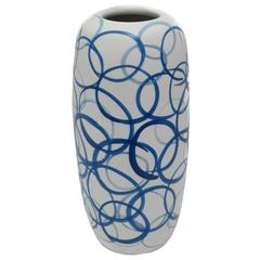 Tall White with Blue Circles Vase, China, Contemporary