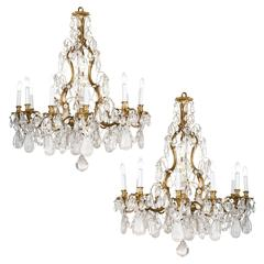 French Bronze Rock Crystal Chandelier