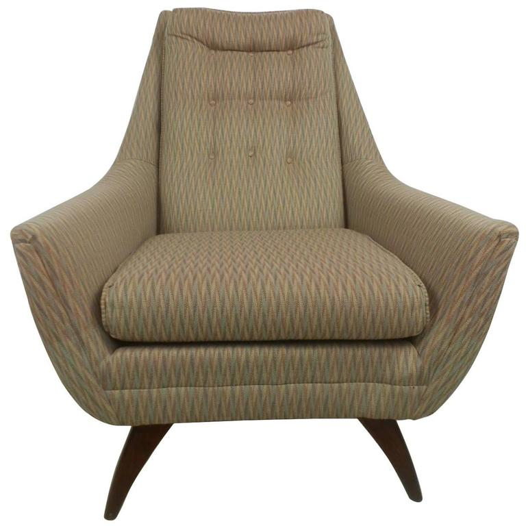 Adrian Pearsall Style Midcentury Tufted Lounge Chair For Sale