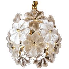 Palme Glass Flower Chandelier Brass Ceiling Fixture Light Floral Modernist 1960s