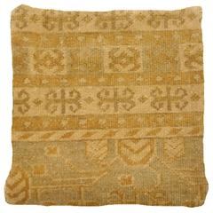 Decorative Hand-Knotted Rug Pillow Cover with Khotan Design