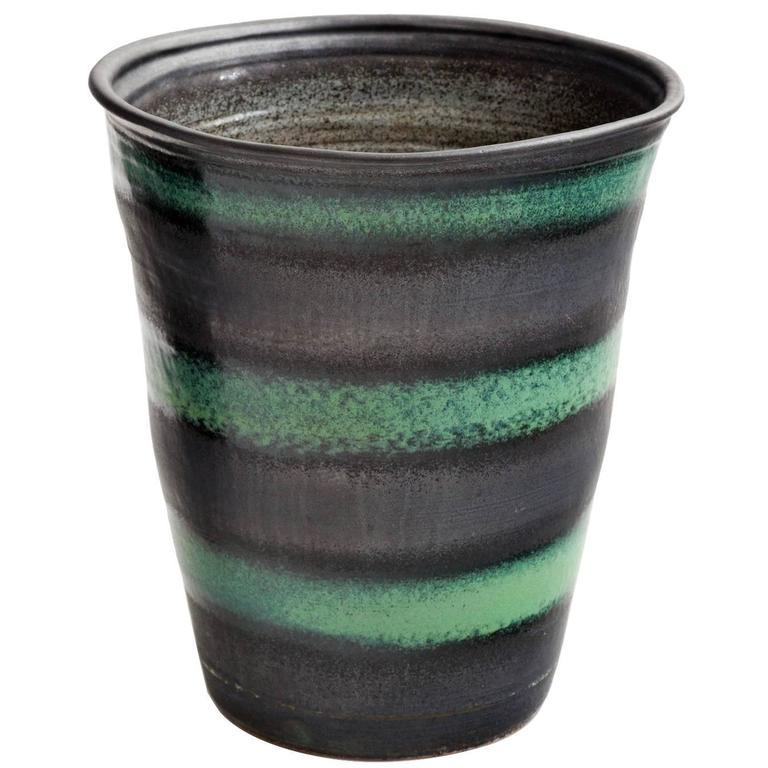 Black And Green Stripe Matte Glaze Ceramic Planter For