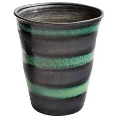 Black and Green Stripe Matte Glaze Ceramic Planter